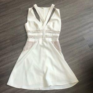 Bcbg sleeveless white fit and flare dress